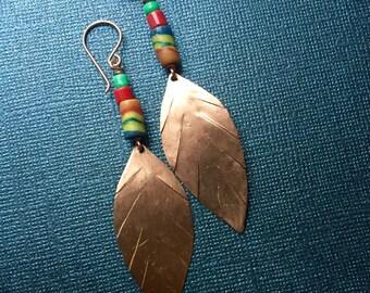 SALE - Copper Leaf Trade Bead Earrings