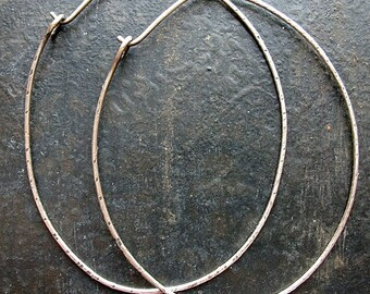 Antiqued Hammered Sterling Silver Large Oval Hoops