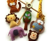 Musical Baby Mobile Custom Color SAFARI QUEST ADVENTURES, Zoo Jungle Theme Nursery, Handmade Felt Mobile, Hanging Crib Mobile, Nursery Decor