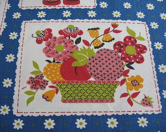 """Vintage Waverly Fabric, Calico Kitchen, Pink Fruit Rooster Daisy, 47"""" X 3+ Yards, Decorator Fabric, Mod Flower Kitchen Fabric, Cotton Fabric"""