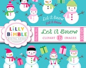 50% off SNOWMAN clipart winter holiday christmas cute snow people Instant Download : Commercial Use Snowmen