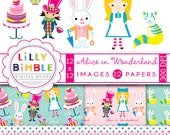 40% off Alice in Wonderland Clipart and Digital papers for cards, scrapbooking, birthday party, kawaii,INSTANT DOWNLOAD