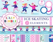 50% off Figure Skating clipart, digital papers, ice skates, girls party, skaters, mittens, ice skating parties INSTANT DOWNLOAD