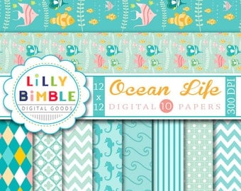 60% off Ocean sea digital papers with seahorses, underwater fish, scrapbook papers INSTANT DOWNLOAD