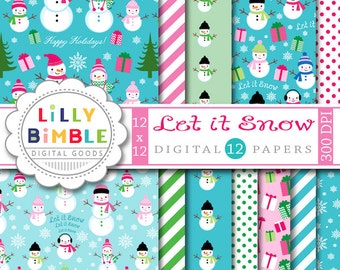 60% off LET IT SNOW digital scrapbook papers modern snowman, snowfamily, blue, pink, Christmas, winter Instant Download commercial use