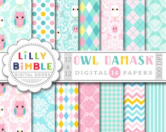 40% off Owl Damask digital papers scrapbooking cards pastel baby paper pack DIGITAL DOWNLOAD