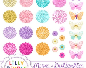 40% off Mums and Butterflies clipart Chrysanthemum clip art, flowers, PNGS, commercial Use Instant Download