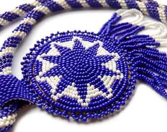 Blue Star Beaded Necklace