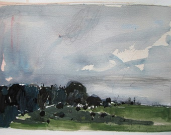Beginning, Lost Dog Hill, Original Landscape Painting on Paper, Stooshinoff