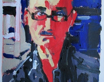 Self in Glasses, Orignal Self Portrait Acrylic Painting on Paper, Stooshinoff