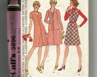McCall's Misses' Dress or Jumper and Jacket Pattern 3896