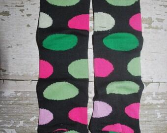 baby leg warmers, pink, green, polka dots, polkadots, black leggings, halloween costume, christmas, holiday babylegs, legwarmers, outfit
