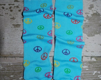 turquoise leg warmers, peace signs, rainbow colors, leggings, girl babylegs, toddler legwarmers, thigh high, knee pads, crawler socks, boys