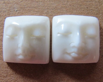 MS 13mm Square Faces (2) Carved Cow Bone Cabochons Closed Eyes Fair Trade Bali