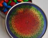 Rainbow Mandala Travel Tin - Bohemian Stash Box With Transparent Geometric Suncatcher Lid in Rainbow Design - LGBTQ - Pillbox - Party Favor