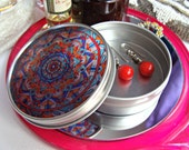 Mandala Travel Tin in Turquoise and Orange - Bohemian Stash Box With Transparent Geometric Suncatcher Lid - Pillbox - Party Favor