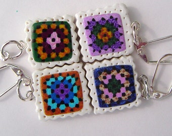 Granny Square Removable Stitch Markers with 4 Polymer Clay Beads