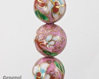 14mm Pink Cloisonné Bead (2 Pcs)  #3823