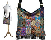 Persian Patchwork, Hippie Bag, Hobo Purse, Crossbody Slouch Bag, Gyspy Boho Fringe Bag, zipper, pockets, jewel colors, long strap  RTS