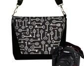 SALE Skeleton Key Nikon Camera Bag, Dslr Camera Case, Slr Camera Bag for Women,  Vintage Antique Key, Steampunk, black, gray MTO