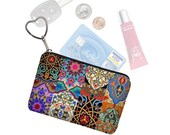 Colorful Boho Small Zipper Pouch Coin Purse Keychain Key Fob Business Card Case Purse Organizer Asian Bohemian Jewel Tones  RTS