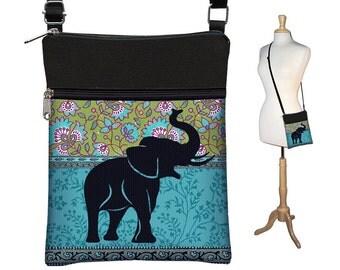 Elephant Small Crossbody Hipster Bag, Cross Body Shoulder Bag,  eReader Case Cover, hippie floral paisley, blue green black RTS