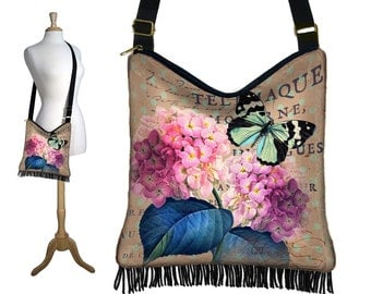 Hydrangea Floral Crossbody Hobo Bag, Sling Bag Hippie Fringe Purse, Slouch Bag, Butterfly, Paris Post Card, Victorian, zipper, pockets  MTO
