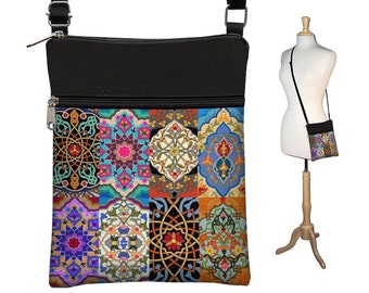 Boho Chic Small Crossbody Hipster Bag in Persian Patchwork, Cross Body Shoulder Bag,  eReader Case Cover, colorul jewel tones RTS