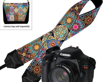 Camera Neck Strap Boho Dslr Camera Strap SLR Padded Camera Strap Nikon Canon Persian Patchwork Jewel Tones Colorful RTS