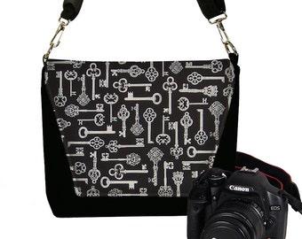 CLEARANCE Skeleton Key Nikon Camera Bag, Dslr Camera Case, Slr Camera Bag for Women,  Vintage Antique Key, Steampunk, black, gray RTS