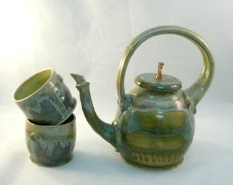 Teapot or Tea Set - Vessel for Tea - Ewer - Pourer - Home Decor Collectible - in Gorgeous Lichen Verdigris Glaze