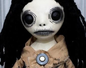 Creepy Black Eyed Rag Doll - Stand Up Clay/Fabric/Wood Sculpture Art Lydia B1