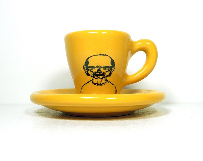 zombie number d. espresso cup w/saucer glazed in honey mustard yellow. Made to Order / Pick Your Colour