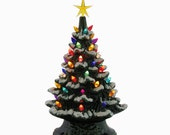 Snow is Falling Ceramic Christmas Tree Tabletop 11 1/2 Inch Tall Color Lights Snow Tipped Branches Color Star - Made to Order