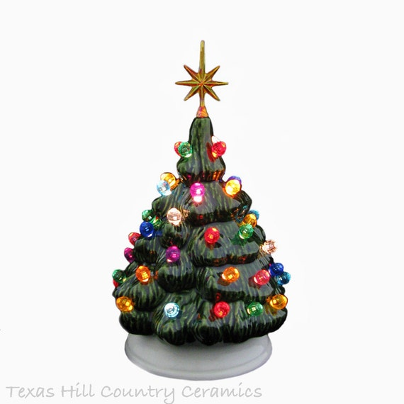 Mini Ceramic Christmas Tree Traditional Green Color Lights Miniature 6 Inch Tall Tabletop Electric Light
