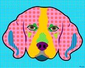 Beagle Breed Pattern Colorful Modern Pop Art Style Dog Artwork Print