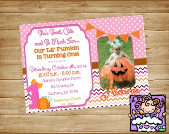 Personalized  Digital Lil Pumpkin Birthday Invitation