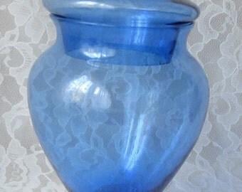 Vintage Cobalt Blue Hand Blown Italian Glass Apothecary Pedestal Jar Mid Century Decor