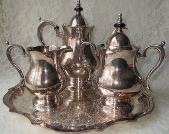 Vintage Wallace Alden Silverplate Coffee or Teapot Sugar & Creamer Set with Tray, 5 Piece Set for Dining Entertaining