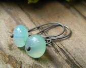 stunning peruvian opal earrings - simple and petite - oxidized silver