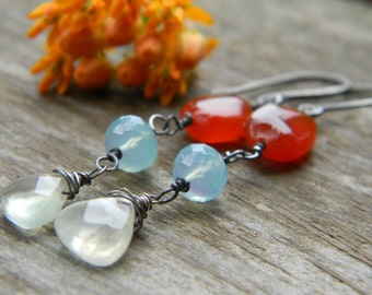 prehnite and chaldedony dangle earrings - rustic silver