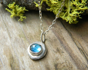 beautiful blue topaz necklace - recycled sterling silver