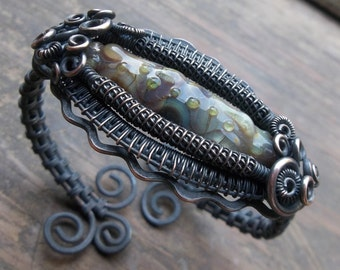 UPCYCLED Copper Wire Wrapped Cuff Bracelet with Handmade Lampwork Bead