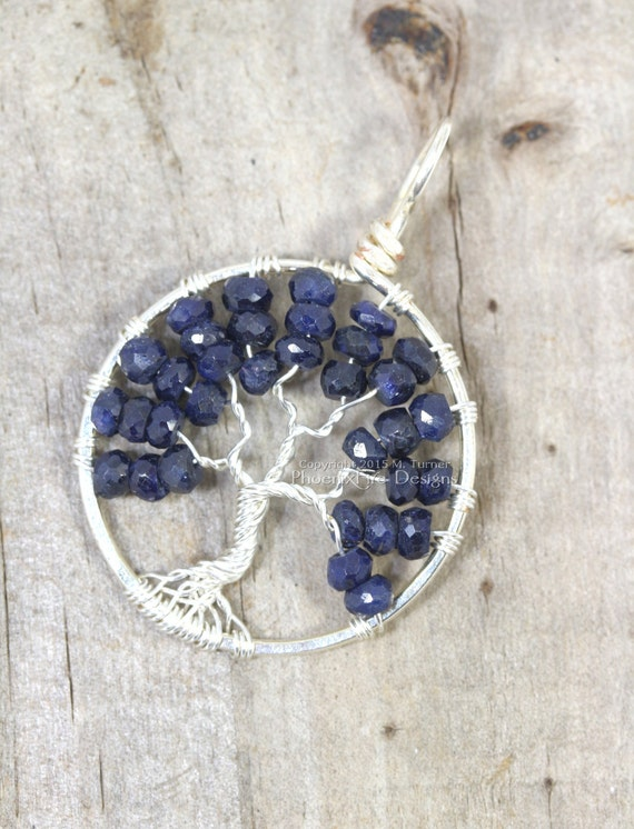 Blue Sapphire Tree of Life Pendant September Birthstone Jewelry Navy Blue Necklace Silver Wire Wrapped Jewelry Precious Gemstone RTS