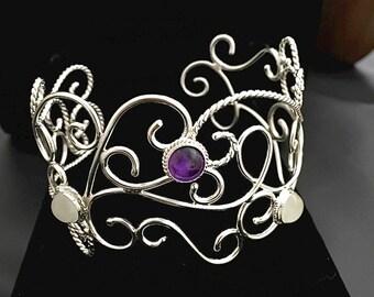 Bohemian Sterling Silver Bracelet Cuff in Sterling Silver, Elvish Art Nouveau Cuff Bracelet, Bracelet Cuff with Gemstones, Victorian Cuffs