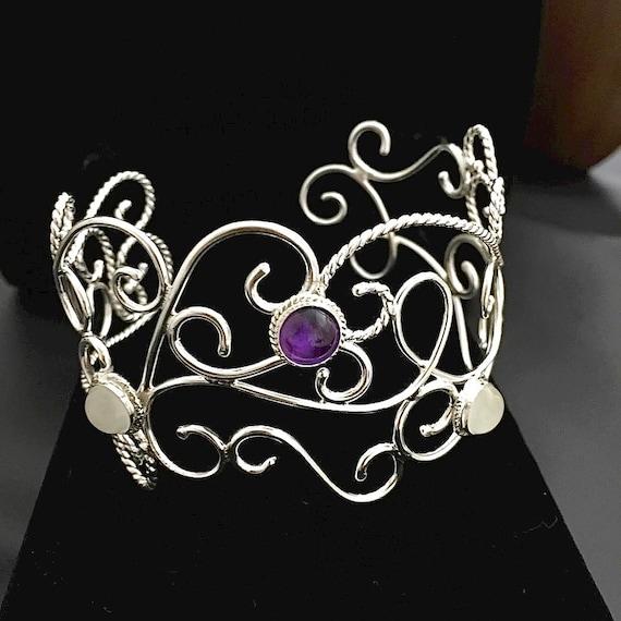 Amethyst Renaissance Sterling Silver Cuff Bracelet
