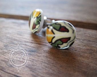 Mexican jewelry, Mexican Talavera tile, Miniature Post Earrings, free giftwrap, stud earrings, Mexican post earrings