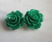 Green Rose Clip On Earrings,  Green Roses, Clip on Earrings, Non Pierced Earrings, Under 10, Wedding Jewelry,