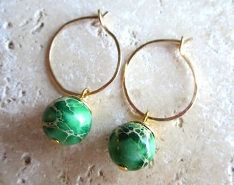 Green Jasper Gold Hoop Earrings, Hammered Gold Fill Hoops, Green Earrings, Under 25,