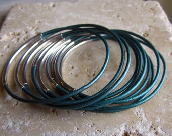 Metallic Teal Leather Bangle Set, Set of 10 Bangles, Leather Bangles, Under 25, Teal Leather Bangles,